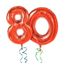 Red balloons with ribbon - Number 80