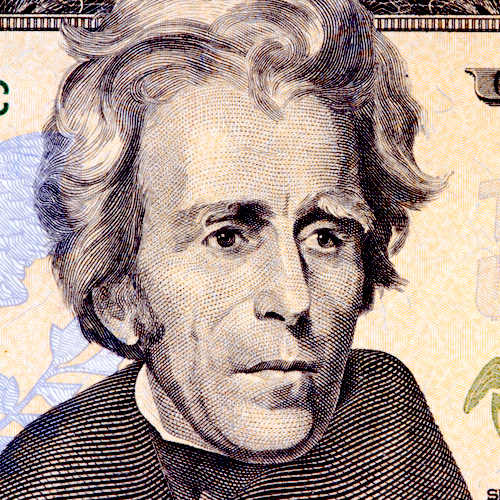 portrait of the American president Andrew Jackson
