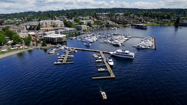 Aerial Cityscape Kirkland, Washington Boat Harbor