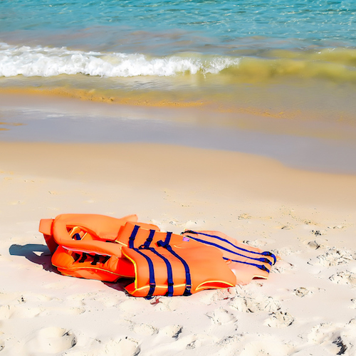 Life Jacket on shore. In the background is the coast