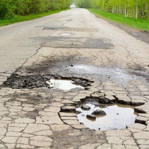 Broken road in the woods