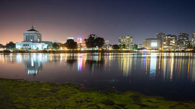 Oakland, California Night Sky Downtown City Skyline Lake Merritt