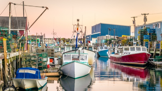 Portland Fishing Harbour at Sunset, Maine