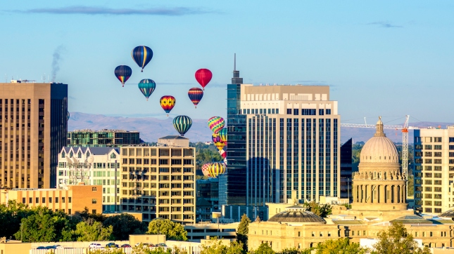 Hot air balloons over Boise City, Idaho