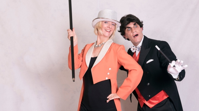 Magician and assistant. Formal wear and costume rental