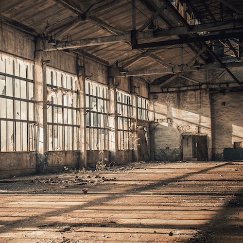 old empty factory, dying industry