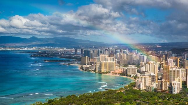 Rainbow over Urban Honolulu, Hawaii
