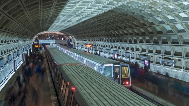 Washington DC subway station, trains