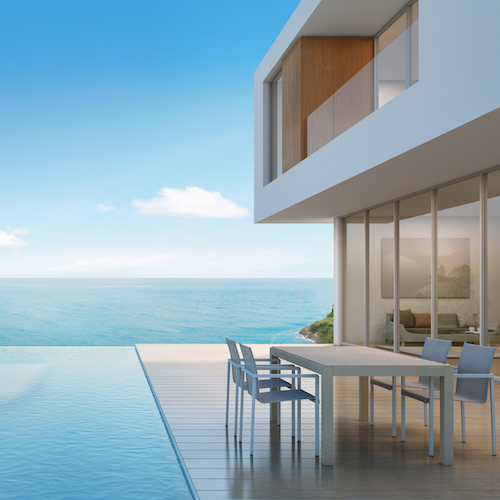 Beach house with sea view in modern design, expensive house
