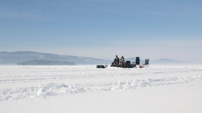 Ice Fishing, Lake Winnipesaukee, Meredith, Belknap County, New Hampshire