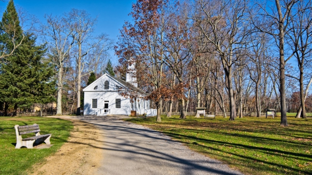 An old, restored chapel in Allaire Village, New Jersey. Allaire village was a bog iron industry town in New Jersey during the early 19th century. The chapel also served as a school.