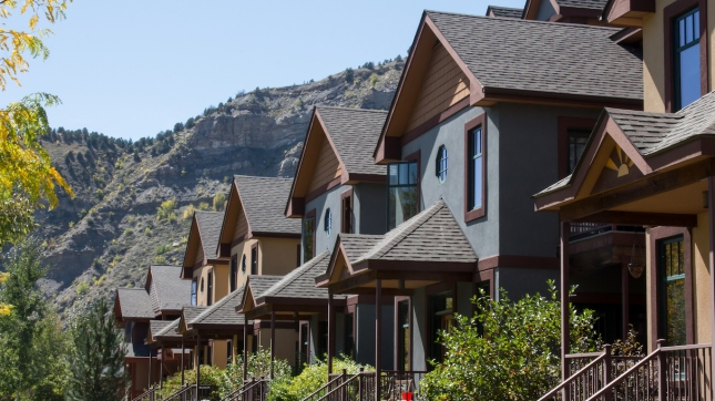 Row of condominiums in downtown Durango, Colorado