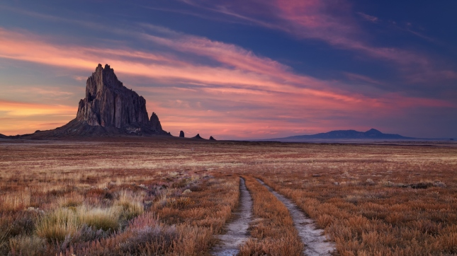 Shiprock, the great volcanic rock mountain in desert plane of New Mexico, USA
