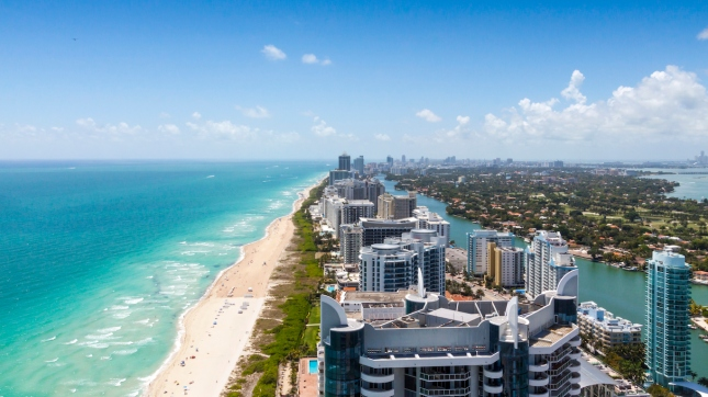 Looking down South beach on a beautiful day Miami, Florida