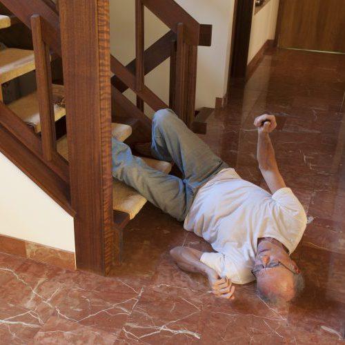 Senior man fell down the stairs