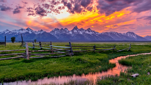 Golden Fiery Sunset at Grand Teton, Wyoming