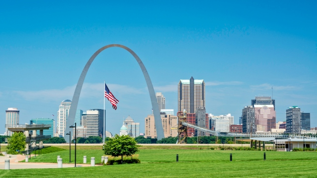 American flag flies over St. Louis, Missouri