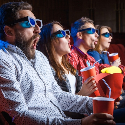 The people's emotions in the cinema at the movies