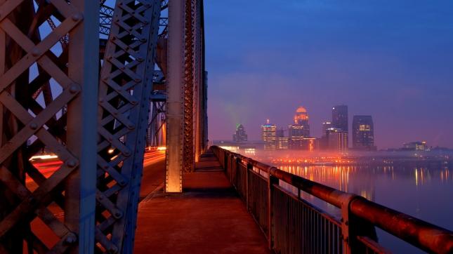 Bridge Rush Hour in Louisville, Kentucky Skyline at Sunrise
