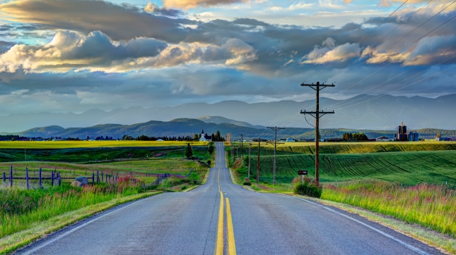 Road to Church, sunset on Mustard Fields, Kalispell Montana