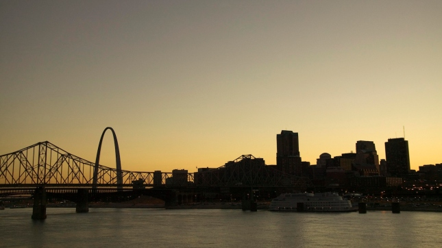 St Louis, Missouri skyline at sunset