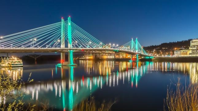 Reflections Illuminated Tilikum Crossing Portland Oregon Willamette River Evening HDR