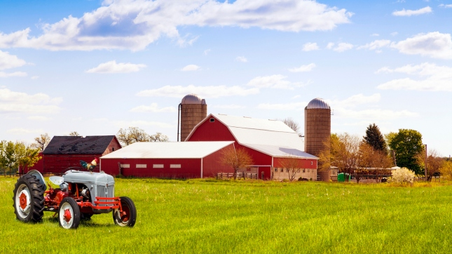 Traditional american red farm with tractor, Wisconsin