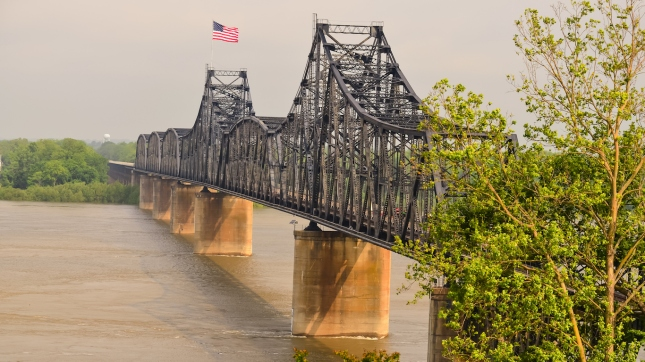 Nice light on Railroad Bridge across Mississippi River from Vicksburg Mississippi to Louisiana.